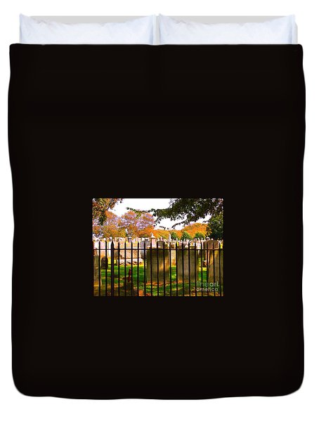 Duvet Cover featuring the photograph Old Cemetary In Newport Rhode Island by Becky Lupe