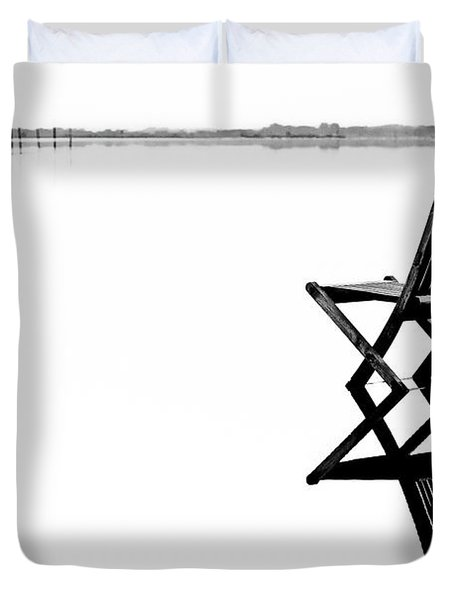 Duvet Cover featuring the photograph Old Chair In Calm Water by Gert Lavsen