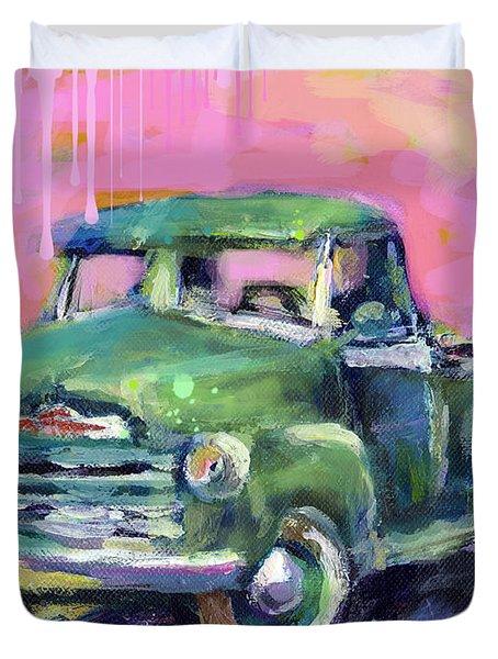 Old Chevy Chevrolet Pickup Truck On A Street Duvet Cover by Svetlana Novikova