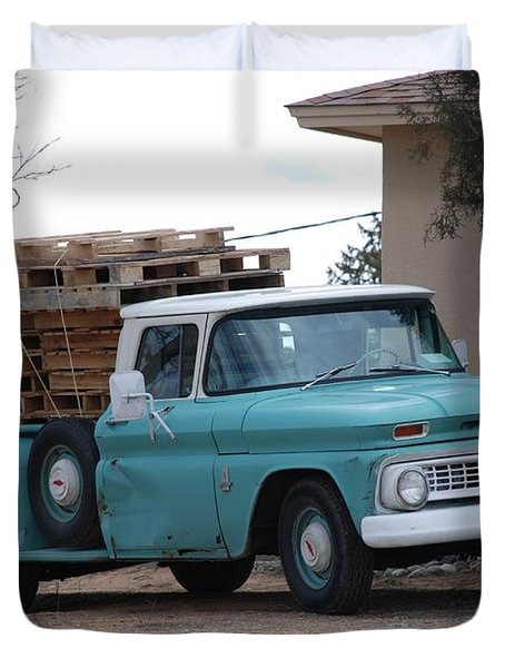 Duvet Cover featuring the photograph Old Chevy by Rob Hans