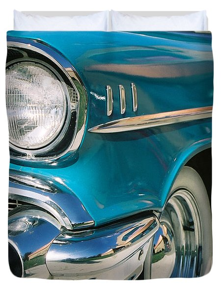 Duvet Cover featuring the photograph Old Chevy by Steve Karol