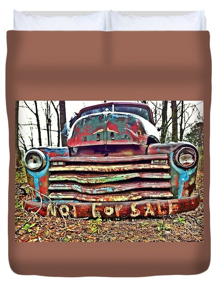 Old Chevy Truck With Graffiti Duvet Cover