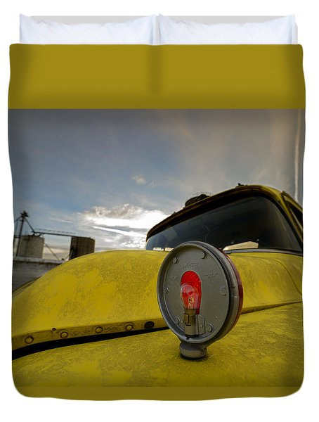 Old Chevy Truck With Grain Elevators In The Background Duvet Cover