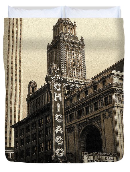 Old Chicago Theater - Vintage Art Duvet Cover