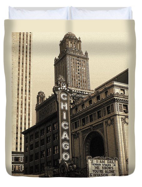 Old Chicago Theater - Vintage Art Duvet Cover