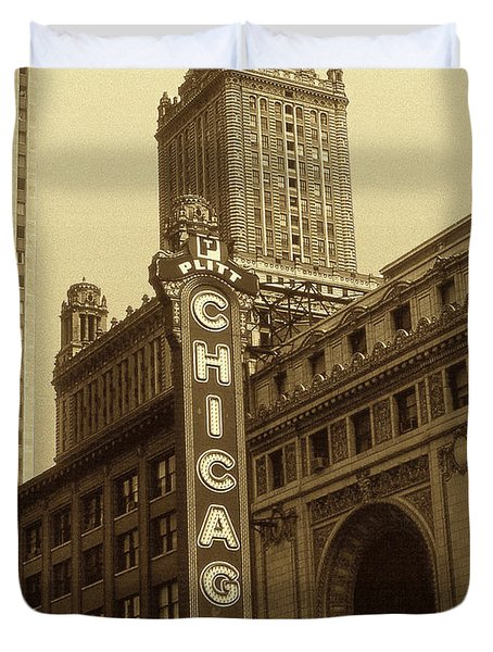 Old Chicago Theater - Vintage Photo Art Print Duvet Cover