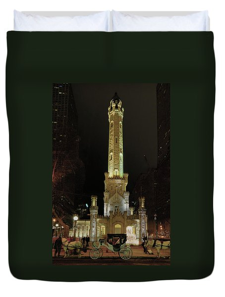 Old Chicago Water Tower Duvet Cover by Alan Toepfer