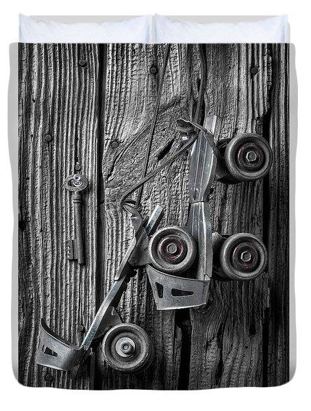 Old Childhood Roller Skates Duvet Cover