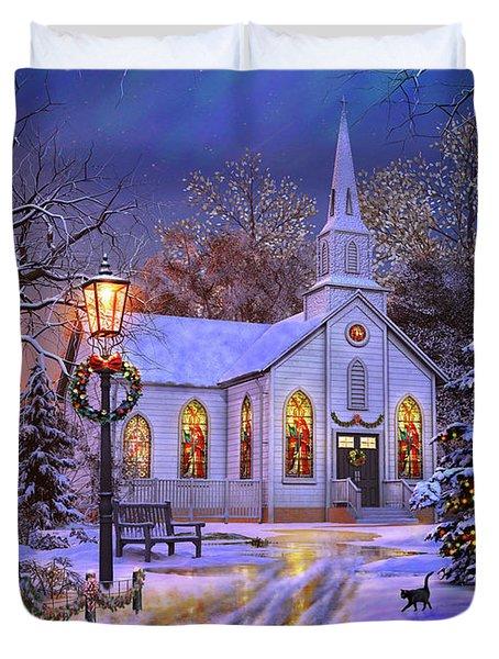 Old Church At Christmas Duvet Cover
