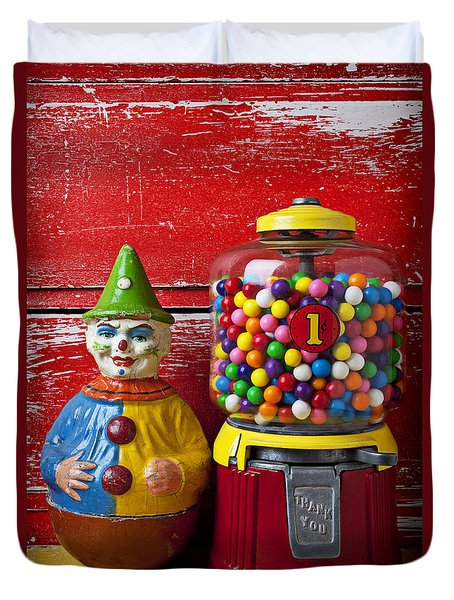 Old Clown Toy And Gum Machine  Duvet Cover by Garry Gay