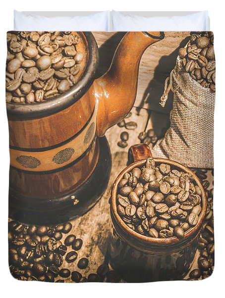 Old Coffee Brew House Beans Duvet Cover