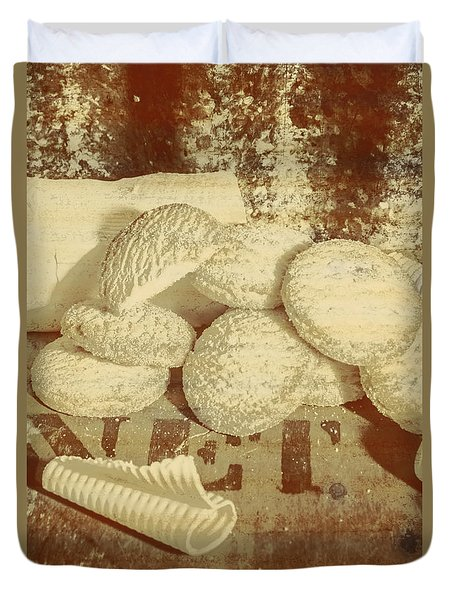Old Cookie Tin Sign Art Duvet Cover