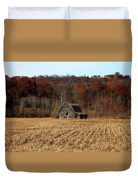 Old Country Barn In Autumn #1 Duvet Cover by Jeff Severson