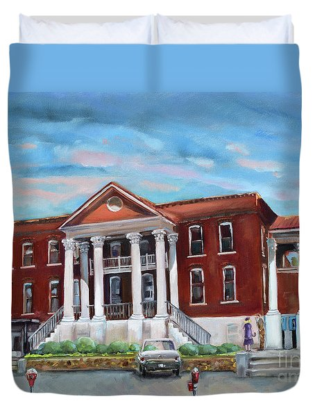 Duvet Cover featuring the painting Old Courthouse In Ellijay Ga - Gilmer County Courthouse by Jan Dappen