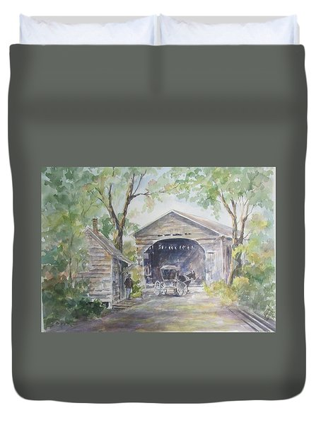 Old Cover Bridge At Pee Dee River Duvet Cover by Gloria Turner