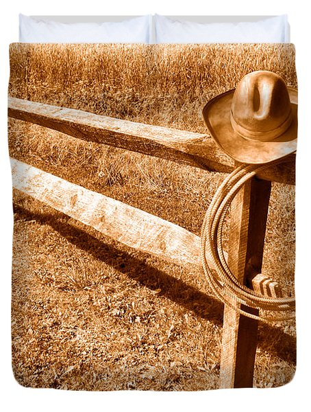 Old Cowboy Hat On Fence - Sepia Duvet Cover