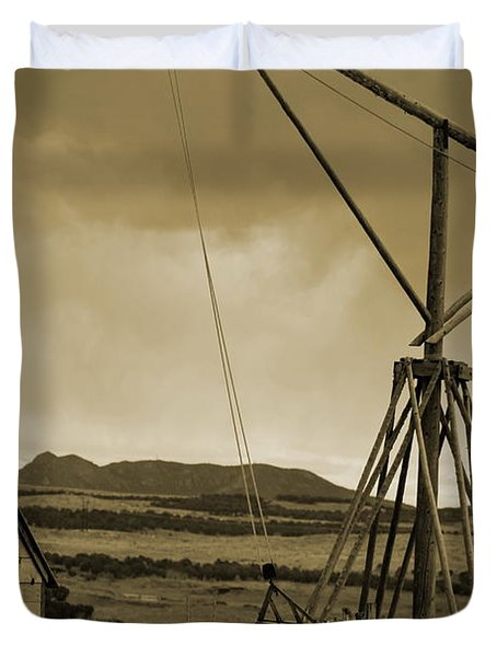 Old Crane And Shed Utah Countryside In Sepia Duvet Cover