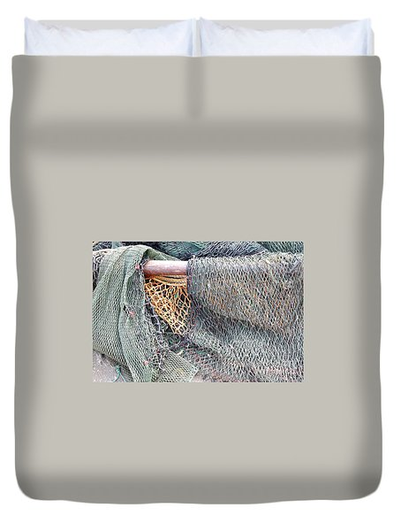 Duvet Cover featuring the photograph Old Discarded Fishing Nets by Yali Shi