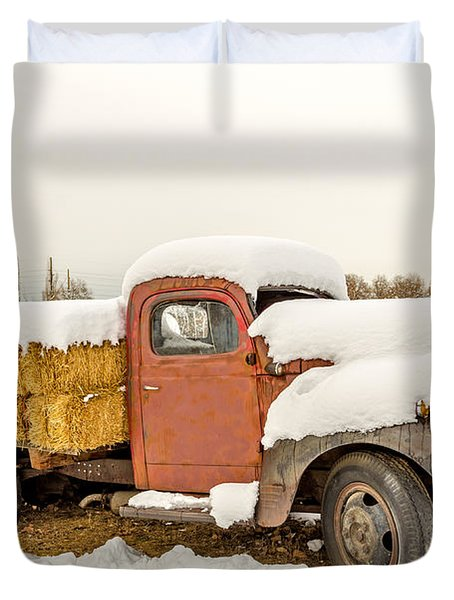 Old Dodge Truck Loaded With Hay Bales Duvet Cover