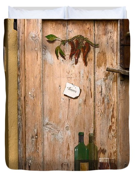 Old Door And Wine Duvet Cover by Sally Weigand