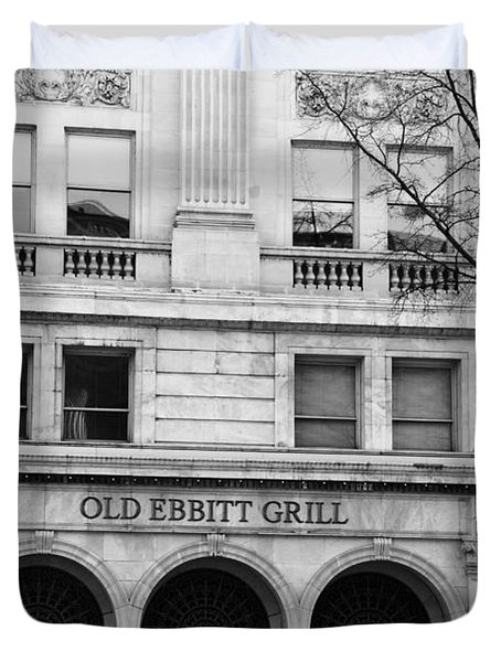 Old Ebbitt Grill Facade Black And White Duvet Cover
