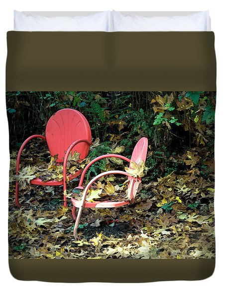 Old Empty Chairs Duvet Cover by Gwyn Newcombe