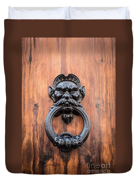 Old Face Door Knocker Duvet Cover by Edward Fielding