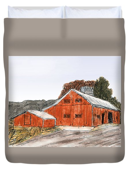 Old Farm In The Country Duvet Cover by R Kyllo