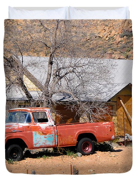 Old Farm Trucks Along Route 66 Duvet Cover