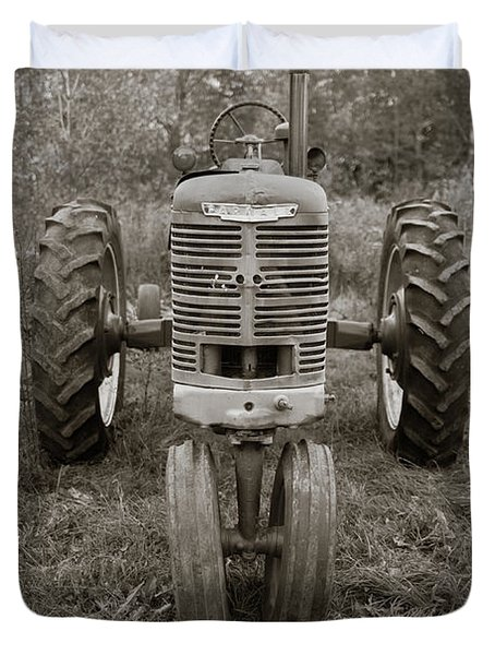 Duvet Cover featuring the photograph Old Farmall Tractor Springfield New Hampshire Sepia by Edward Fielding