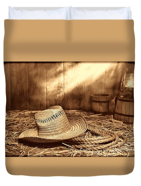 Old Farmer Hat And Rope Duvet Cover