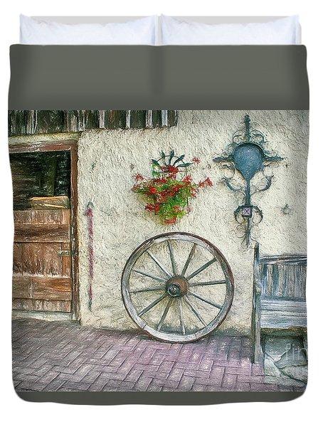 Duvet Cover featuring the photograph Old Farmhouse by Jutta Maria Pusl