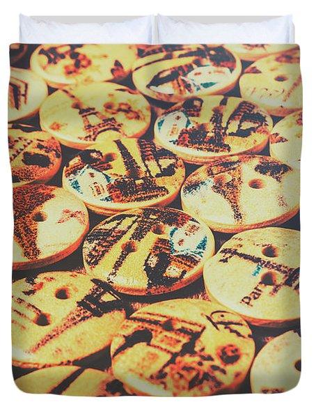 Old Fashion Landmark Buttons Duvet Cover