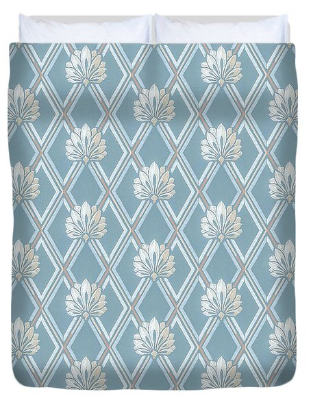 Duvet Cover featuring the digital art Old Fashioned Blue Lattice Fan Wallpaper Pattern by Tracie Kaska