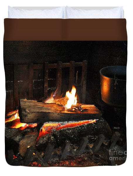 Old Fashioned Fireplace Duvet Cover