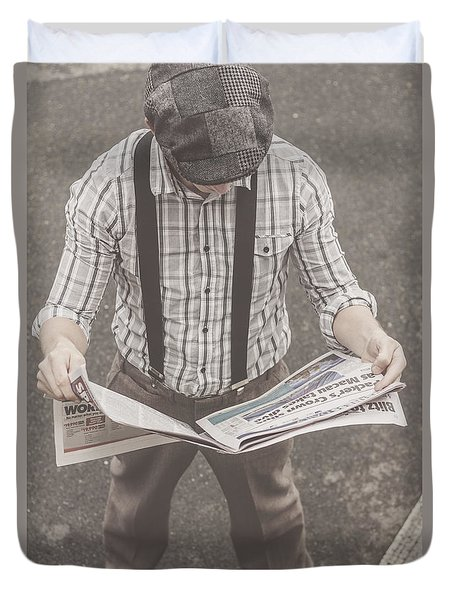 Old-fashioned Man Perusing The Latest Newspaper Duvet Cover