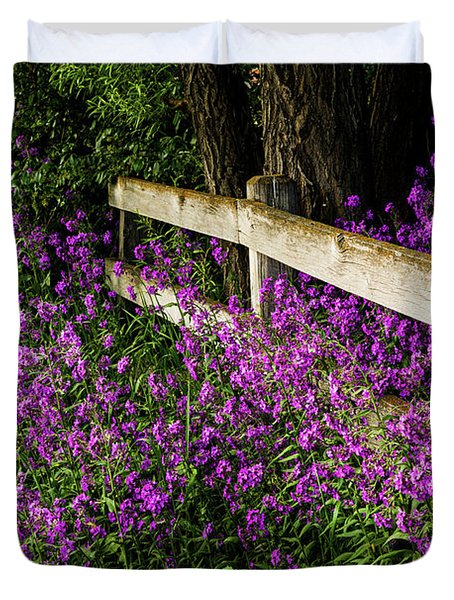 Old Fence And Purple Flowers Duvet Cover