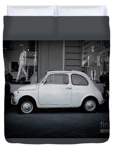 Old Fiat On The Streets Of Florence Duvet Cover by Edward Fielding