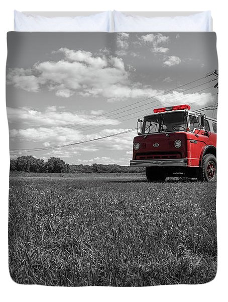 Old Fire Engine Deerfield Ma Duvet Cover