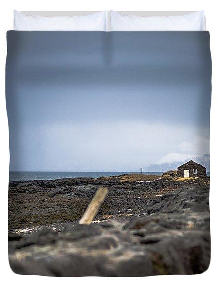 Old Fisherman's Coastal House Duvet Cover
