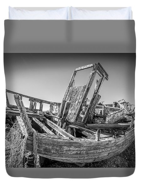 Duvet Cover featuring the photograph Old Fishing Boat. by Gary Gillette
