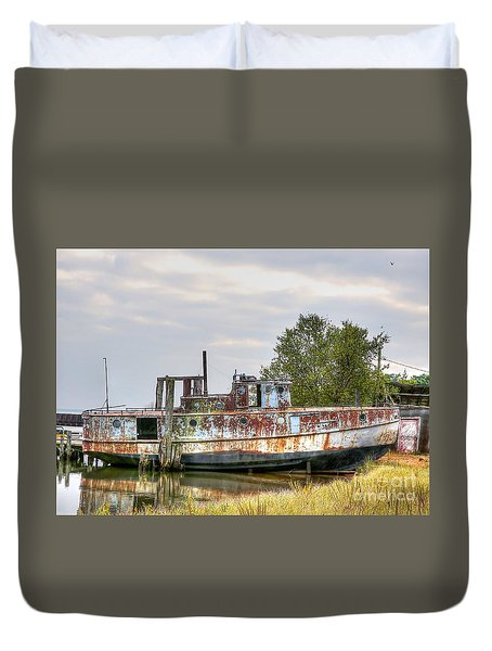 Old Fishing Boat Duvet Cover