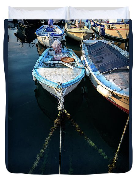 Old Fishing Boats Of The Adriatic Duvet Cover