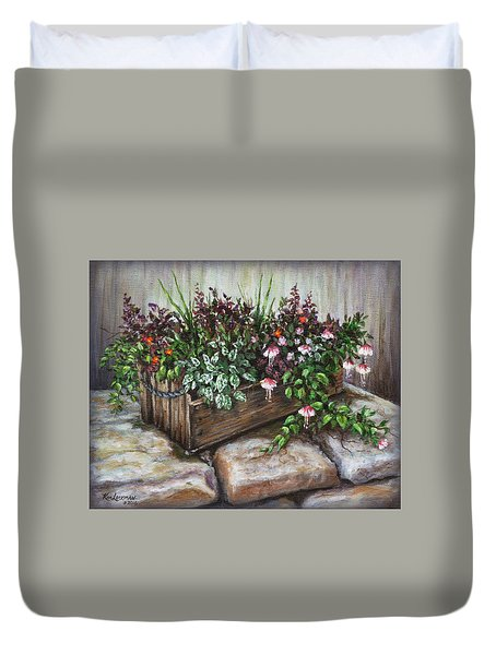 Duvet Cover featuring the painting Old Flower Box by Kim Lockman