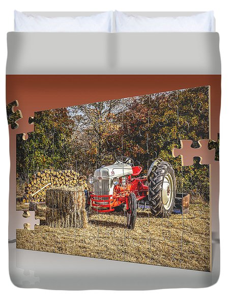 Old Ford Tractor Puzzle Duvet Cover by Doug Long