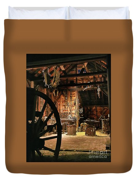 Duvet Cover featuring the photograph Old Forge by Tom Cameron