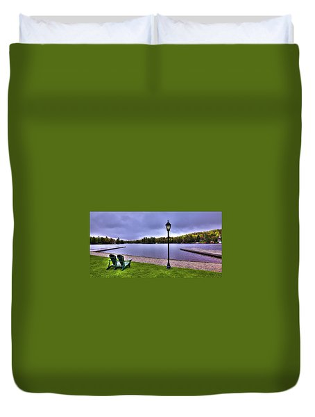 Old Forge Waterfront Duvet Cover by David Patterson