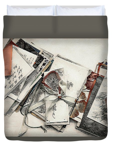 Duvet Cover featuring the digital art Old Forgotten Letters by Pennie McCracken