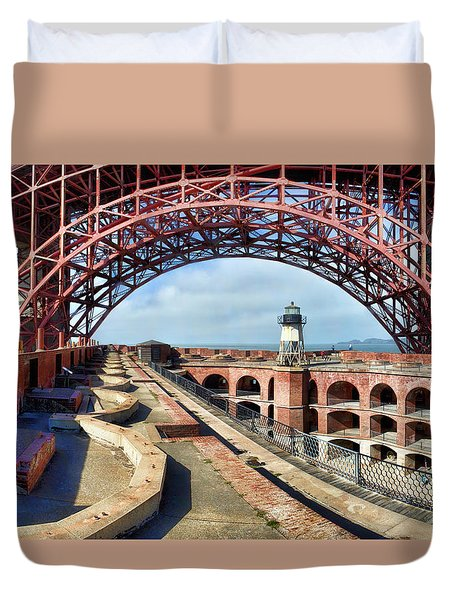 Old Fort Point Lighthouse Under The Golden Gate Duvet Cover