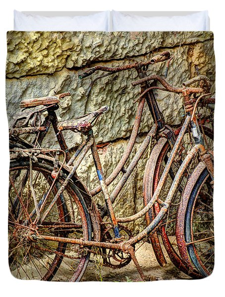 Old French Bicycles Duvet Cover by Debra and Dave Vanderlaan
